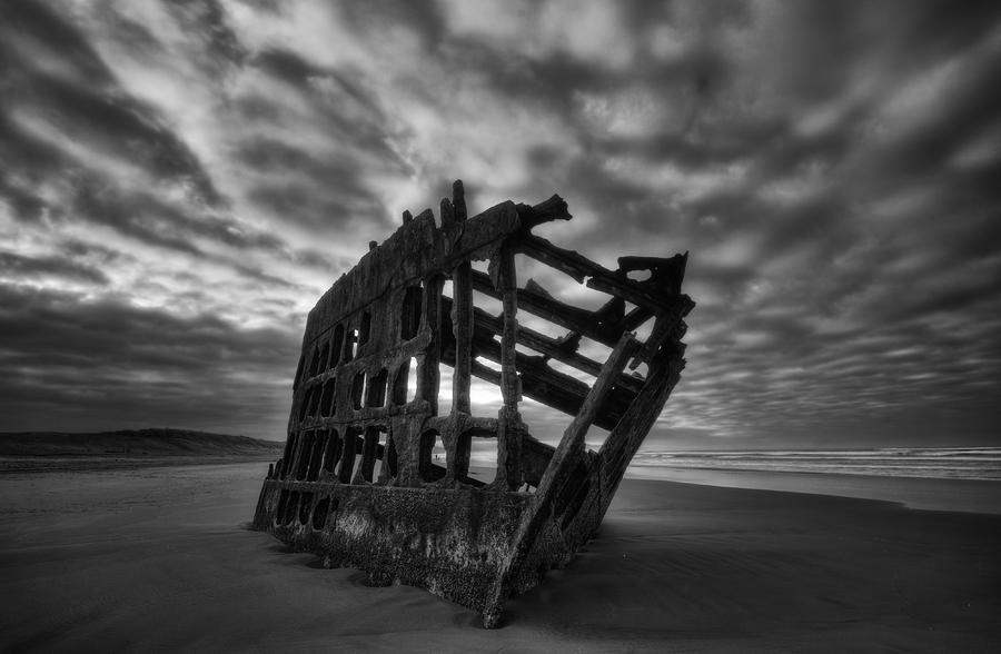 Beach Photograph - Peter Iredale Shipwreck Black And White by Mark Kiver