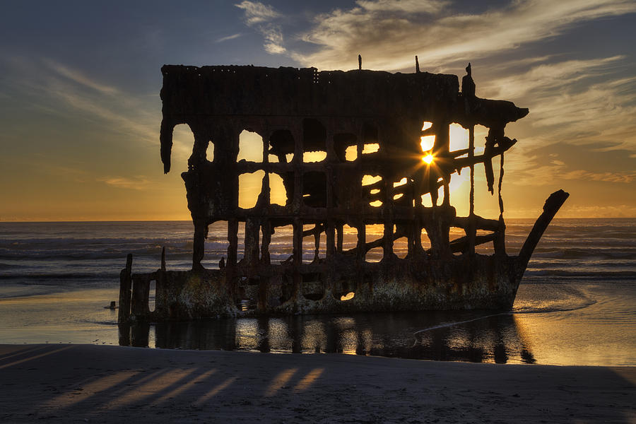 Beach Photograph - Peter Iredale Shipwreck Sunset by Mark Kiver