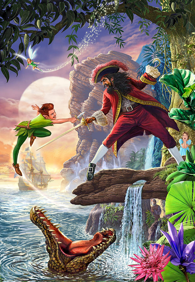 Peter Pan And Captain Hook Painting by MGL Meiklejohn ...