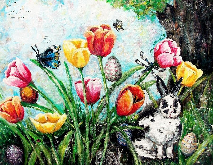 Easter Painting - Peters Easter Garden by Shana Rowe Jackson