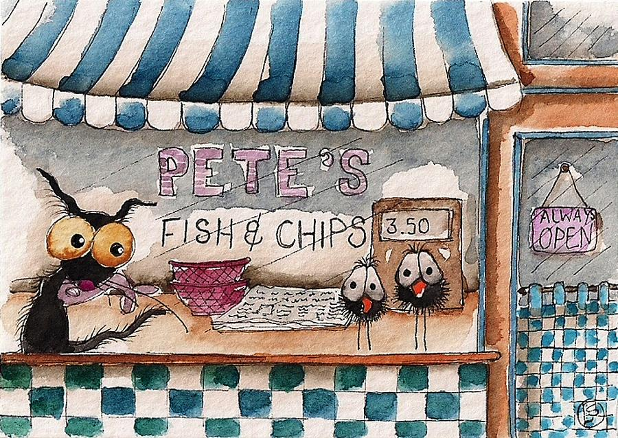 Stressie Cat Painting - Petes Fish And Chips by Lucia Stewart
