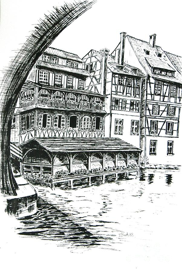 City Scape Drawing - Petite France by Janice Best