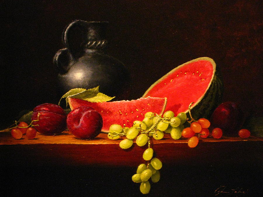 Still Life Painting - Petite Watermelon by Sean Taber