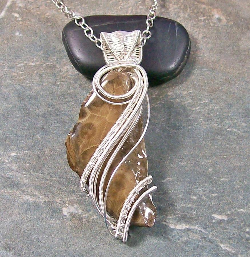 Petoskey Stone And Silver Wire-wrapped Pendant Jewelry by Heather Jordan