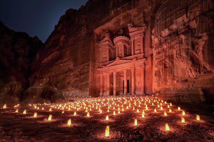 Jordan Photograph - Petra By Night by Jes?s M. Garc?a