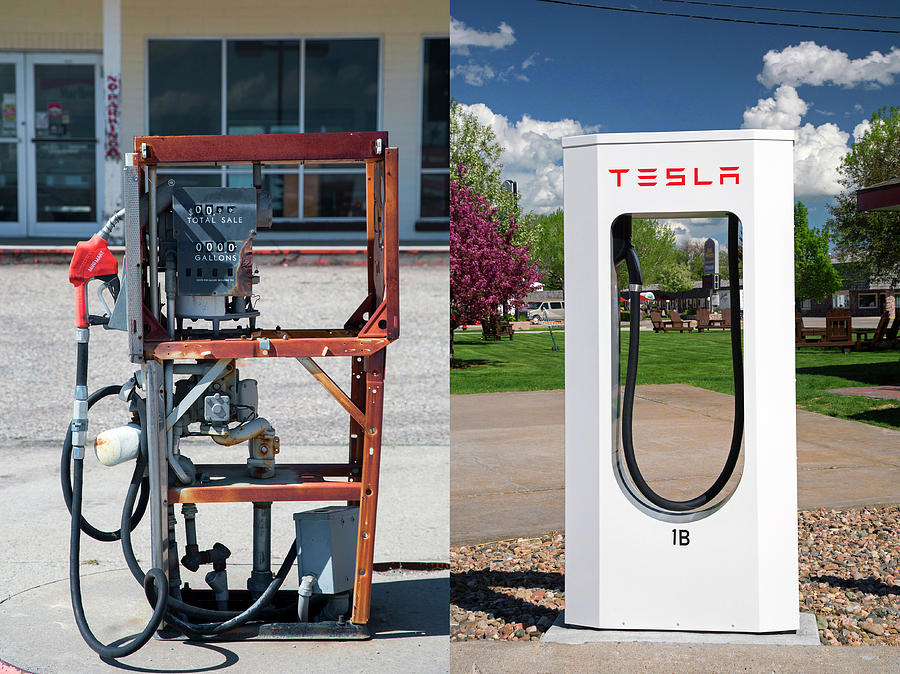 Nobody Photograph - Petrol Pump And Electric Charging Point by Jim West