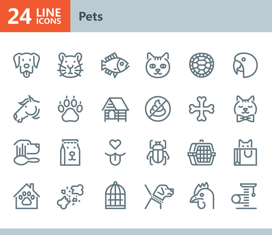 Pets - Line Vector Icons Drawing by Steppeua