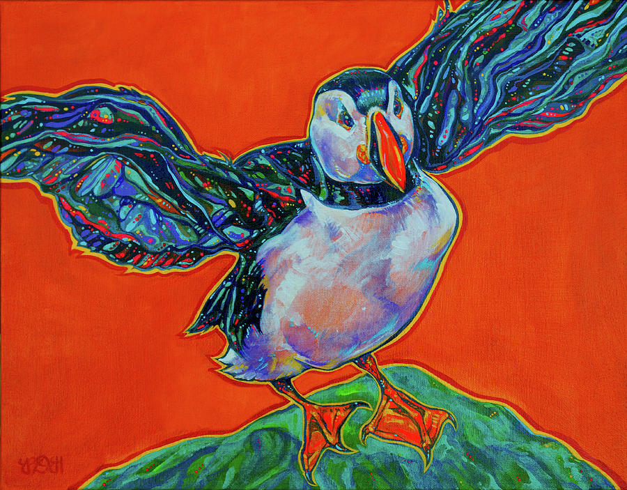 Puffin Painting - Petty Harbour Puffin by Derrick Higgins