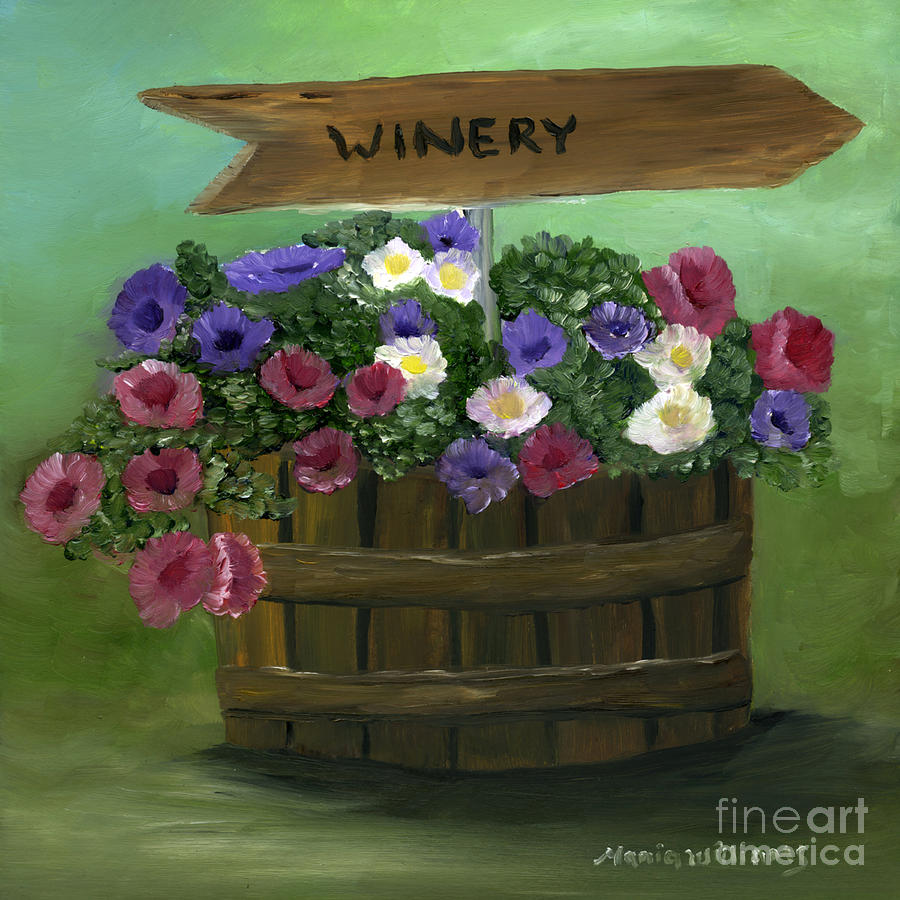 Winery Painting - Petunias In A Barrel by Maria Williams