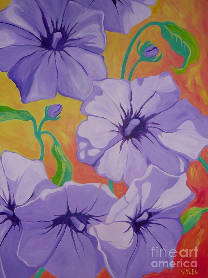 Floral Painting - Petunias by Sandra Yuen MacKay