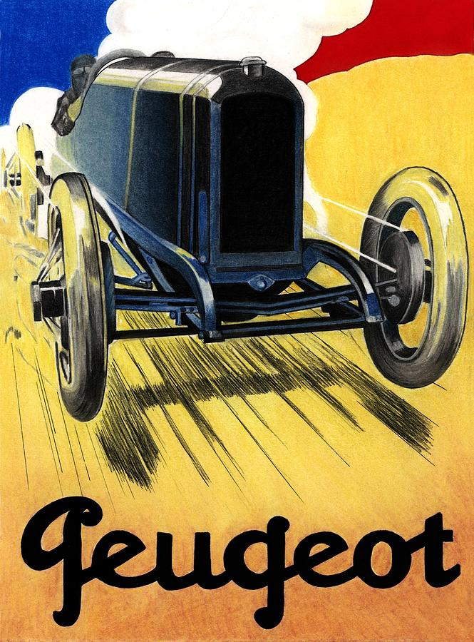 Rene Vincent Mixed Media - Peugeot Advert by Lyle Brown