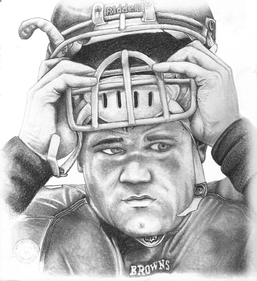Peyton Hillis Drawing - Peyton Hillis by Mike Shaw