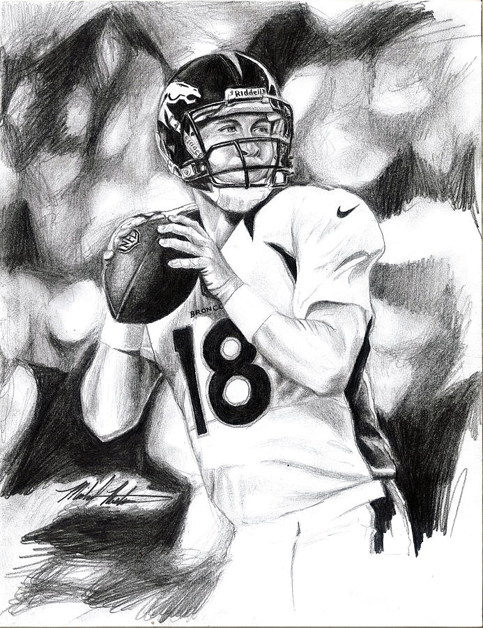 Peyton Drawing - Peyton Manning by Michael Mestas