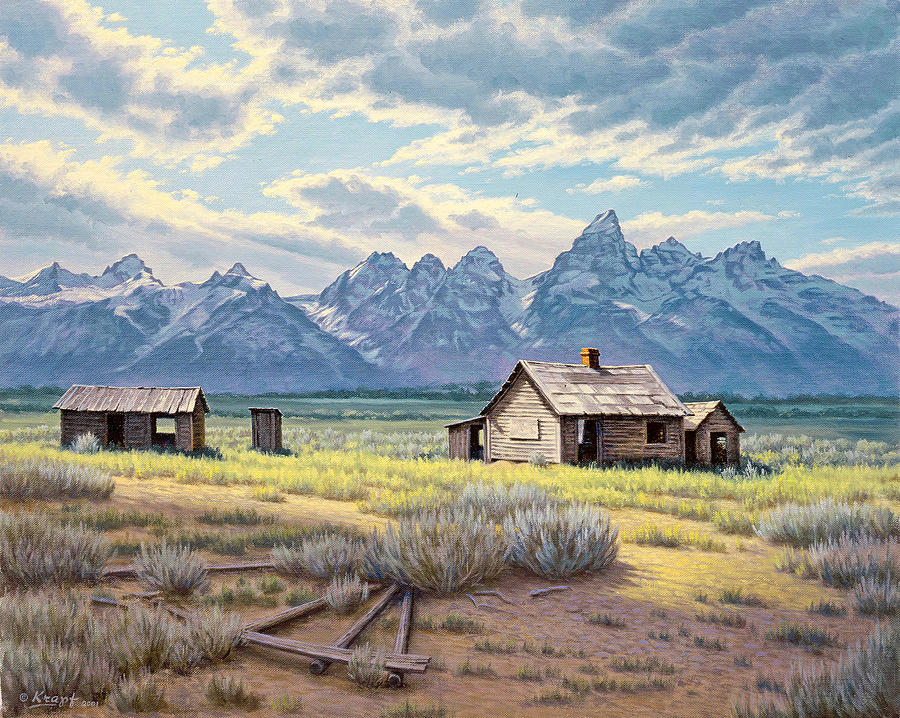Landscape Painting - Pfeiffer Homestead-tetons by Paul Krapf