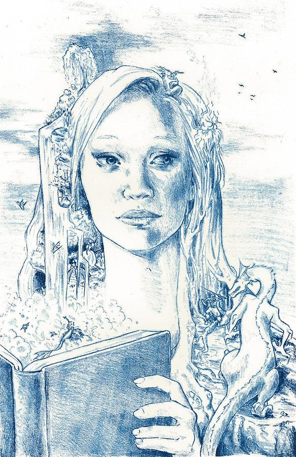 Book Drawing - Phantasia in Blue by Holly Carton