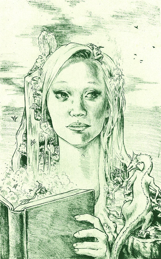 Lithography Drawing - Phantasia in Green by Holly Carton