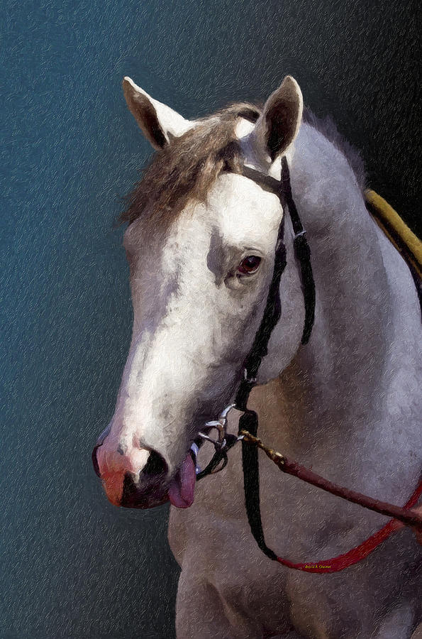 Del Mar Painting - Phantom Lover - Portrait Of A Race Horse by Angela Stanton