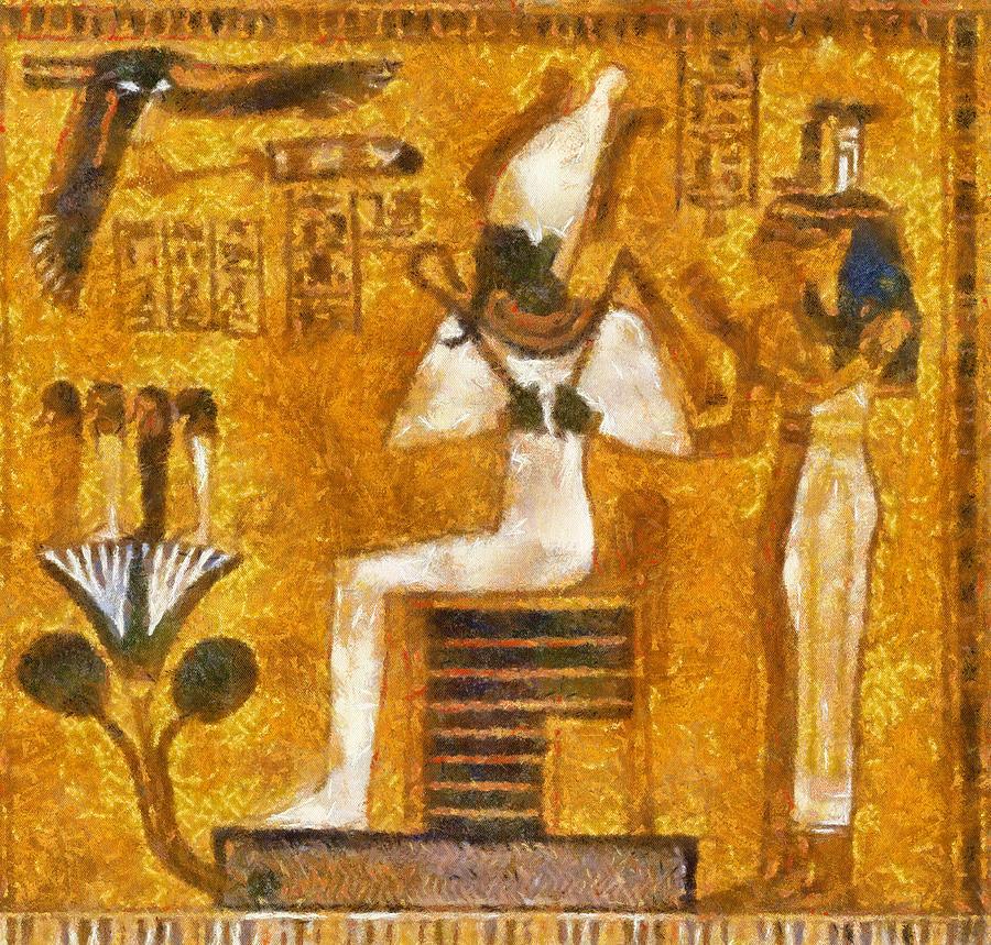 Pharaoh painting by georgi dimitrov for Egyptian fresco mural painting