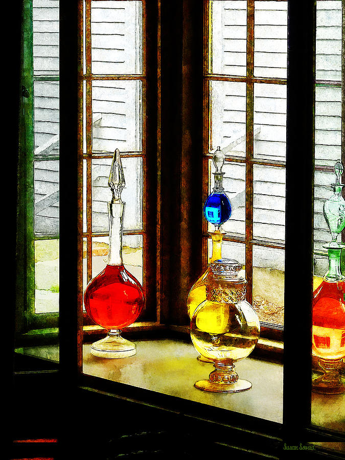 Pharmacies Photograph - Pharmacist - Colorful Bottles In Drug Store Window by Susan Savad
