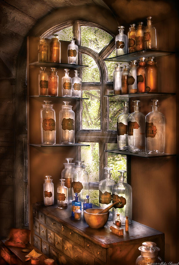 Pharmacy Photograph - Pharmacist - Various Potions by Mike Savad