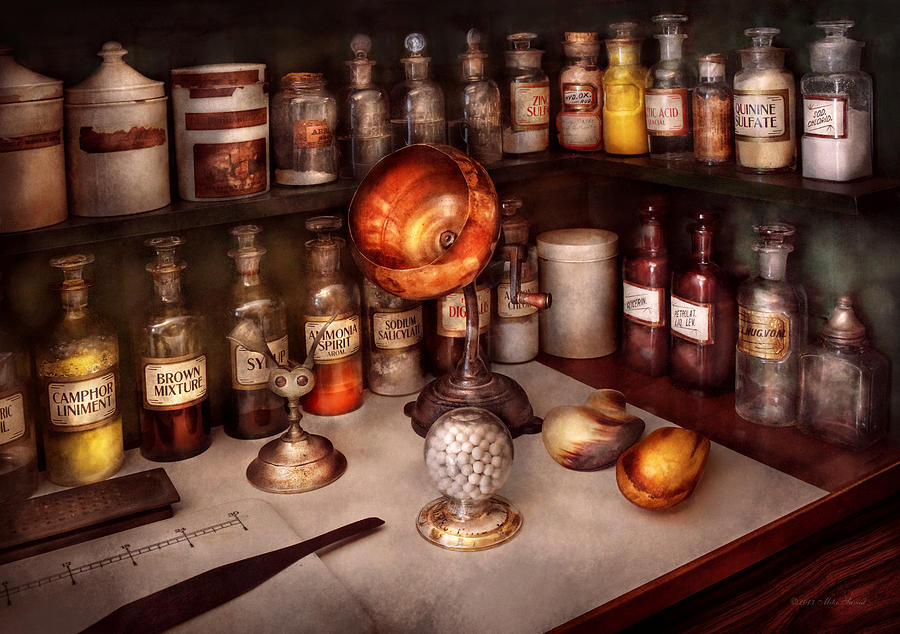 Hdr Photograph - Pharmacy - Items From The Specialist by Mike Savad