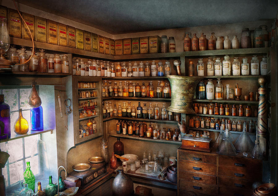 Hdr Photograph - Pharmacy - Medicinal Chemistry by Mike Savad