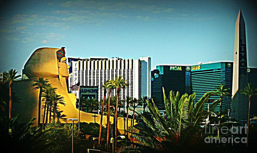 Las Vegas Digital Art - Pharoh Of Vegas by John Malone