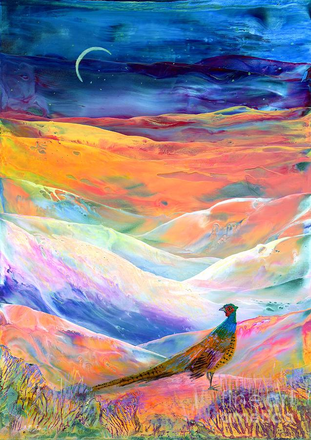 Pheasant Painting - Pheasant Moon by Jane Small