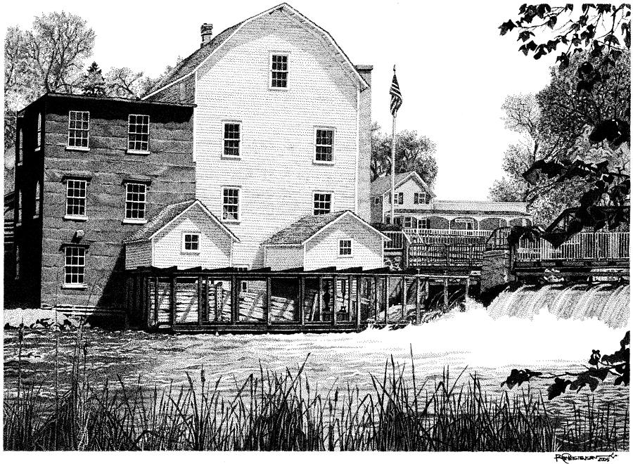 Historical Drawing - Phelps Mill by Rob Christensen