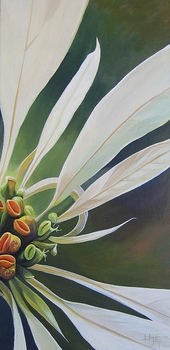 White Poinsettia Painting - Phenomenal World by Hunter Jay