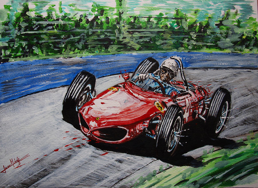 Phil Hill Painting - Phil Hill At Nurburgring. by Juan Mendez