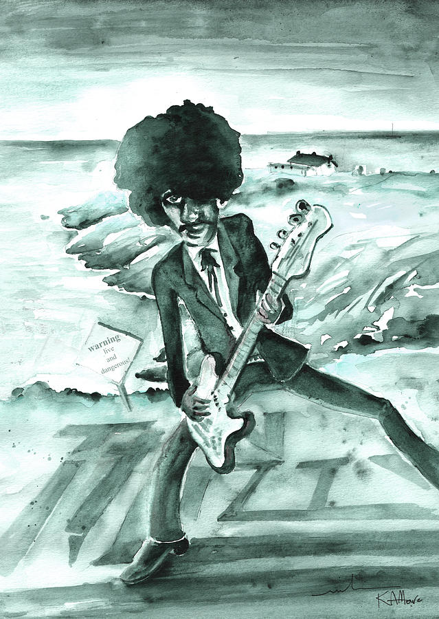 Travel Painting - Phil Lynott in Howth by Miki De Goodaboom