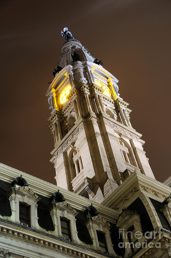 Philadelphia Photograph - Philadelphia City Hall Clock Tower At Night by Gary Whitton