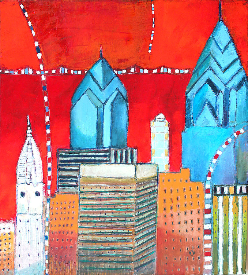 Colors Painting - Philadelphia Cityscape With Red by Habib Ayat