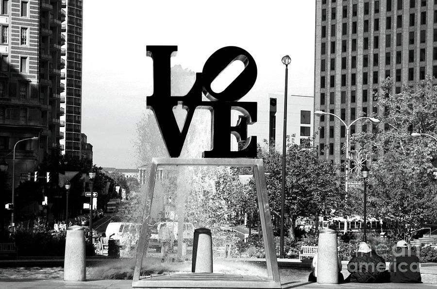 Philadelphia Love Photograph - Philadelphia Love Bw by John Rizzuto