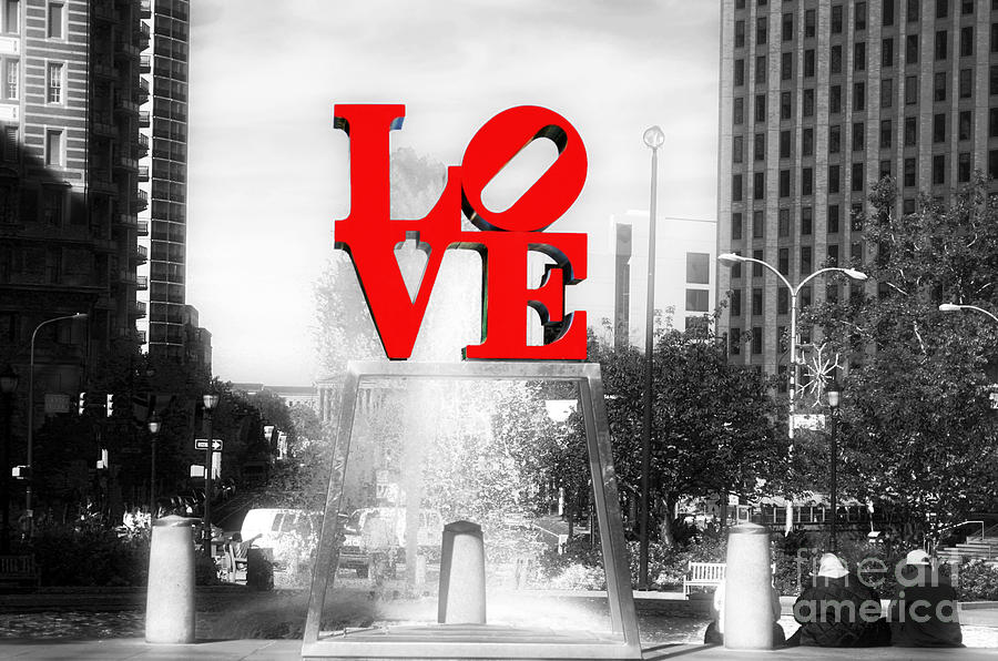 Love Statue Photograph - Philadelphia Love Fusion by John Rizzuto