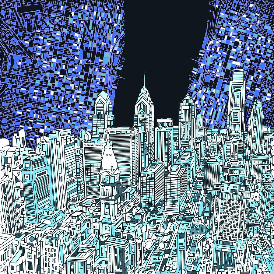 Philadelphia map panorama digital art by bekim art philadelphia digital art philadelphia map panorama by bekim art freerunsca Gallery
