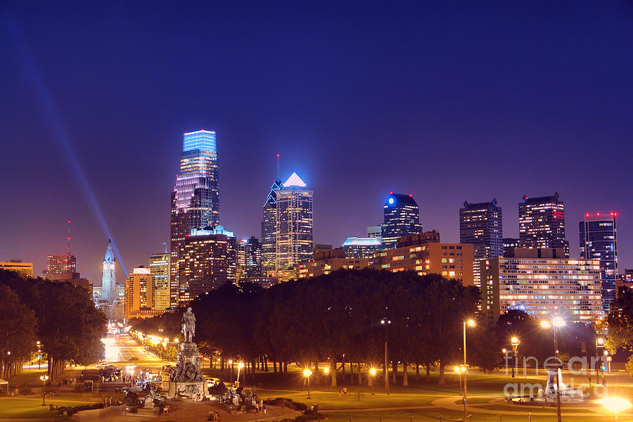Philadelphia Photograph - Philadelphia Nightscape by Olivier Le Queinec