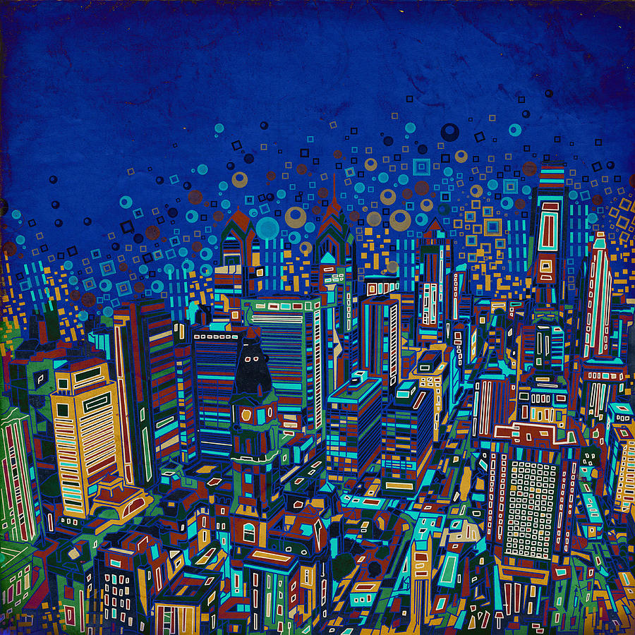 Philadelphia Painting - Philadelphia Panorama Pop Art 2 by Bekim M