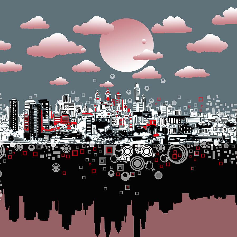 Philadelphia Skyline Painting - Philadelphia Skyline Abstract 6 by Bekim M