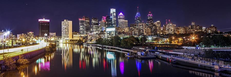 Philadelphia Photograph - Philadelphia Skyline at Night by Stacey Granger
