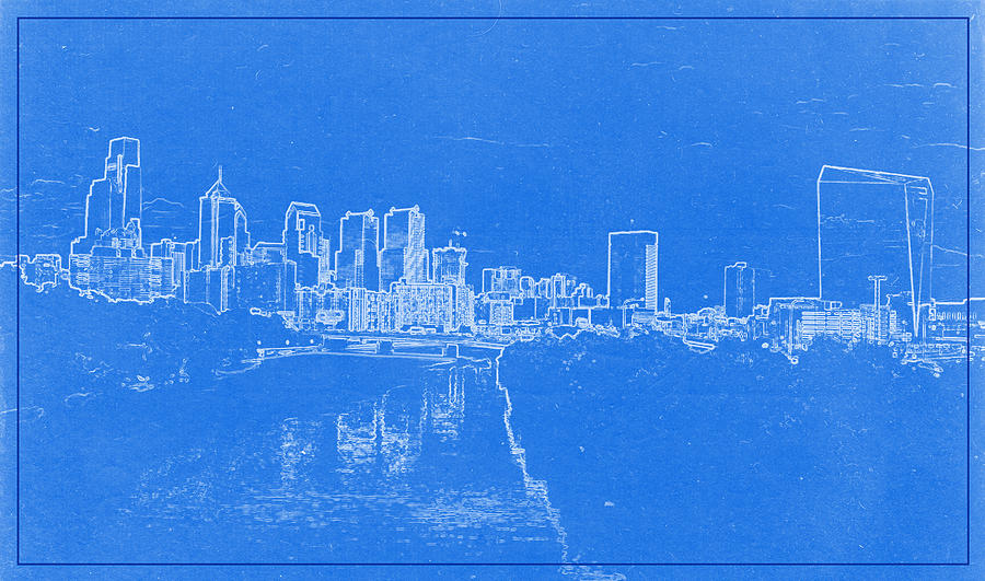 Philadelphia skyline blueprint painting by celestial images chicago skyline painting philadelphia skyline blueprint by celestial images malvernweather Image collections