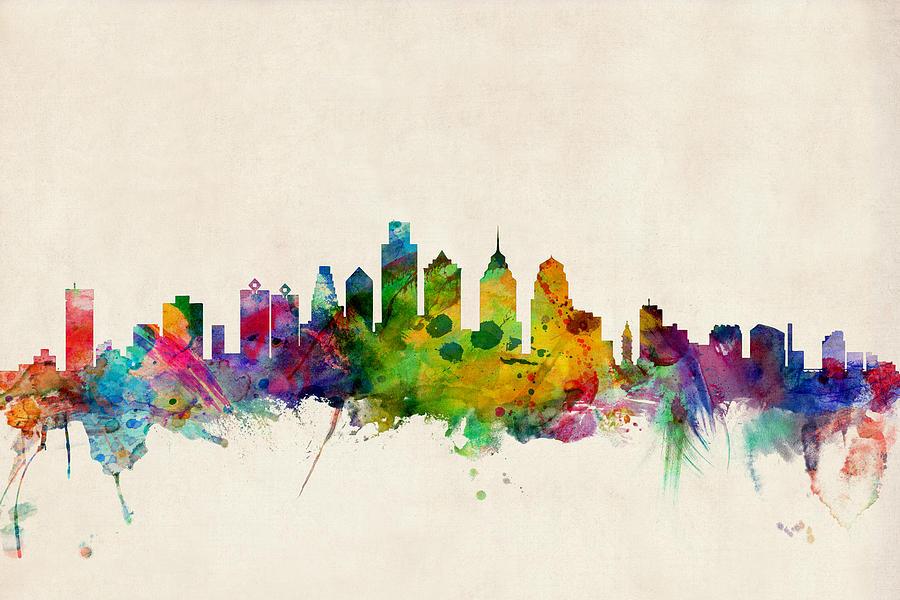 Watercolour Digital Art - Philadelphia Skyline by Michael Tompsett