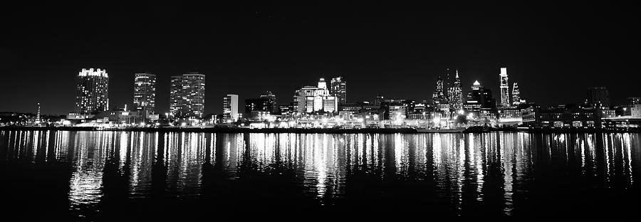 Philadelphia Photograph - Philadelphia Skyline Panorama In Black And White by Bill Cannon