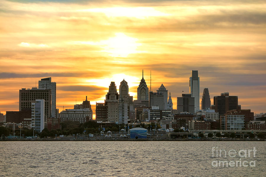 Philadelphia Photograph - Philadelphia Sunset by Olivier Le Queinec