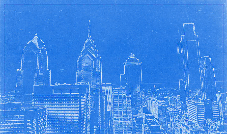 Philadelphia Towers City Skyline Blueprint Drawing