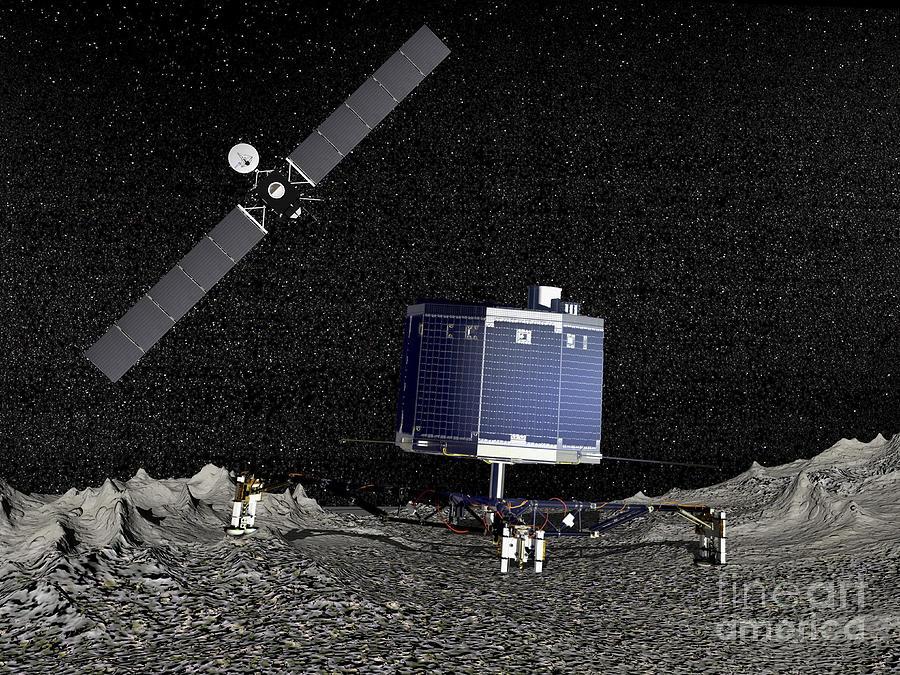 Rosetta Digital Art - Philae Lander On Surface Of A Comet by Elena Duvernay