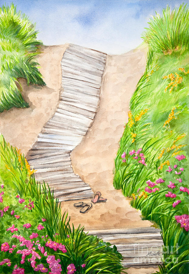 Marthas Vineyard Painting - Philbin Beach Path by Michelle Wiarda