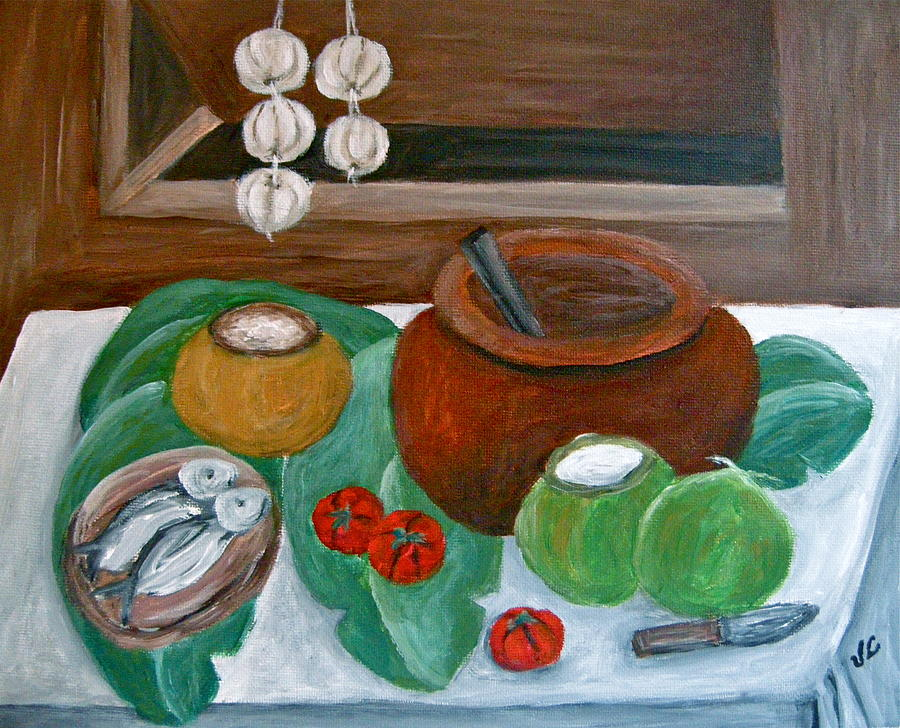 Still Life Painting - Philippine Still Life With Fish And Coconuts by Victoria Lakes