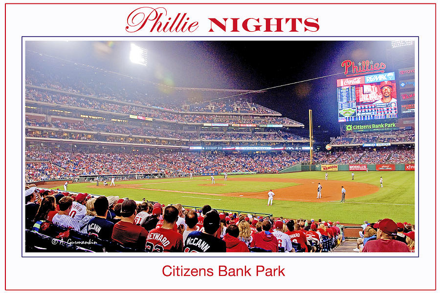 Philadelphia Photograph - Phillies Night Baseball Poster Image by A Gurmankin